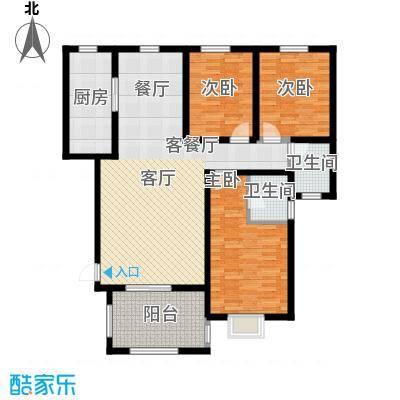 金桥天海湾133.44㎡A2户型 三室两厅两卫户型3室2厅2卫