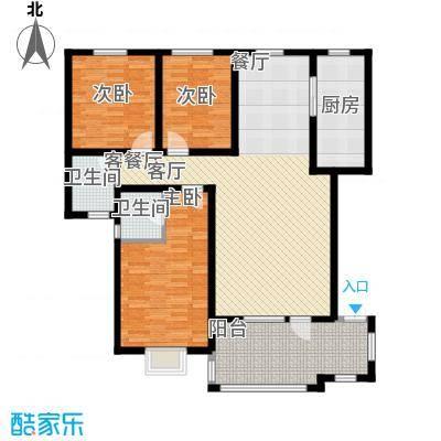 金桥天海湾137.94㎡A户型 三室两厅两卫户型3室2厅2卫