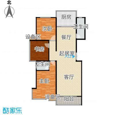 滨河雅园137.00㎡6号、7号楼 三室两厅一厨两卫户型3室2厅2卫