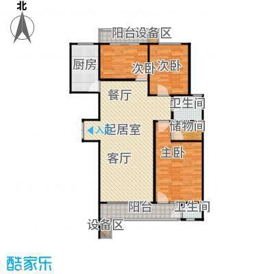 滨河雅园127.00㎡7号楼 三室两厅一厨两卫户型3室2厅2卫