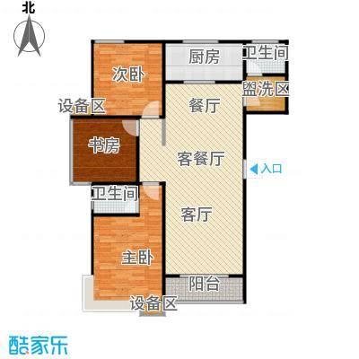 滨河雅园133.60㎡2号楼、3号楼A户型 三室两厅两卫户型3室2厅2卫
