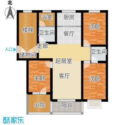 新安家园D户型三室两厅两卫户型3室2厅2卫