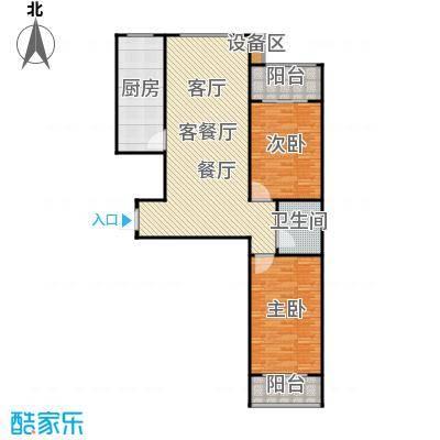 滨河雅园113.50㎡2号、3号C户型设计两室两厅一卫户型2室2厅1卫