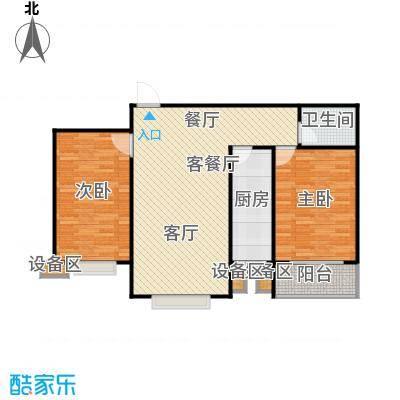 滨河雅园94.30㎡4号楼F户型 两室两厅一卫户型2室2厅1卫
