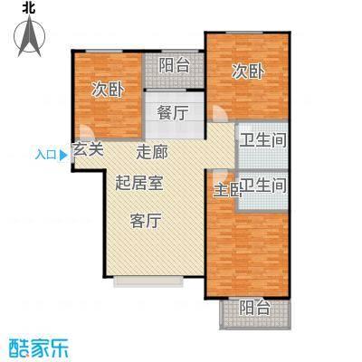 福美公馆131.00㎡F户型 三室两厅两卫户型3室2厅2卫