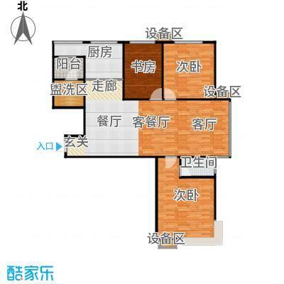 滨河雅园138.20㎡4号楼G户型 三室两厅两卫户型3室2厅2卫