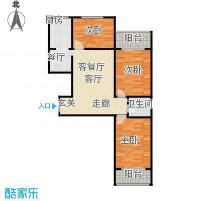 滨河雅园113.50㎡2号、3号楼C户型 三室两厅一卫户型3室2厅1卫