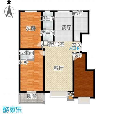 石家庄朱雀门122.36㎡3号楼b户型 三室两厅两卫户型3室2厅2卫