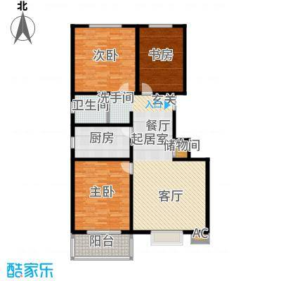 石家庄朱雀门110.06㎡8号楼a户型 三室两厅一卫户型3室2厅1卫