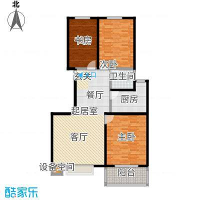 石家庄朱雀门102.65㎡8号楼b户型 三室两厅一卫户型3室2厅1卫
