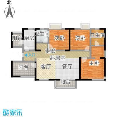 元氏天山水榭花都132.96㎡3室2厅2卫户型3室2厅2卫