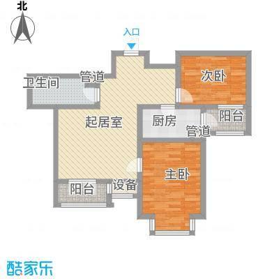 长瀛御龙湾两室两厅一卫 86.54-87平米户型