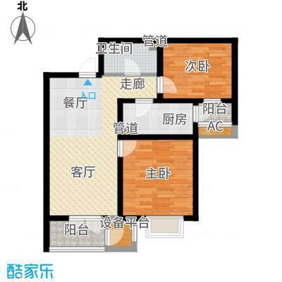 长瀛御龙湾两室两厅一卫 87.71-88平米户型