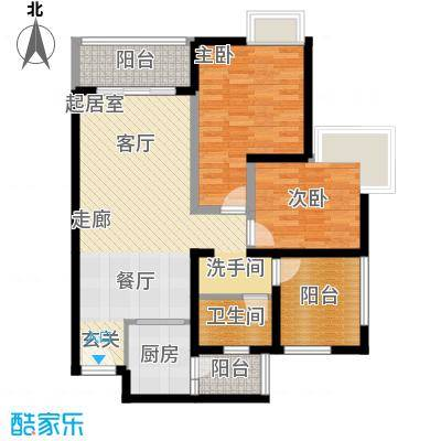 南沙境界藏峰118.00㎡H4-2栋01、H5-2栋02单位户型2室1卫1厨