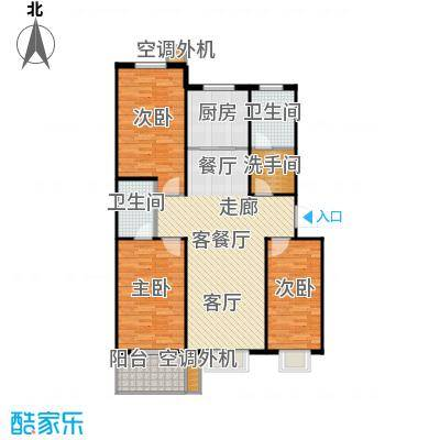 富达山庄124.00㎡3室2厅2卫户型3室2厅2卫