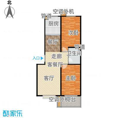 富达山庄86.32㎡2室2厅1卫1厨户型2室2厅1卫