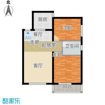 龙海南苑92.32㎡9号楼1-03户型2室1卫1厨