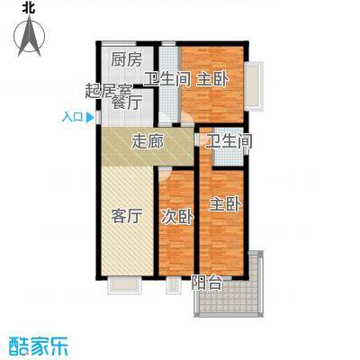 龙海南苑130.00㎡户型3室2卫1厨