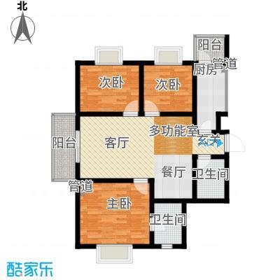 富水一方三室 121.42平方米户型
