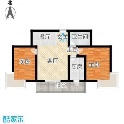 富水一方二室二厅一卫户型