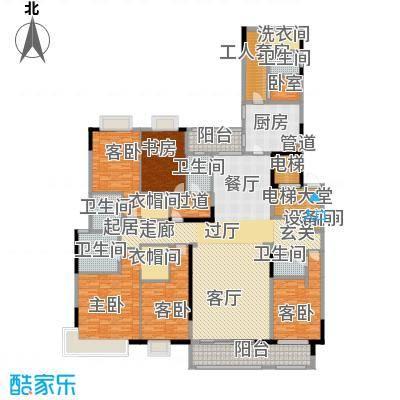 中海龙湾国际303.00㎡A户型 五房三厅四卫+工人套房户型5室3厅4卫