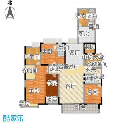 中海龙湾国际251.00㎡B户型 四房三厅三卫户型4室3厅3卫