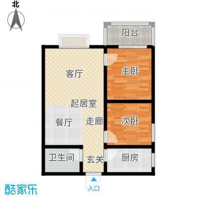 百花紫荆名座75.75㎡C、D座E户型 两室两厅一卫户型