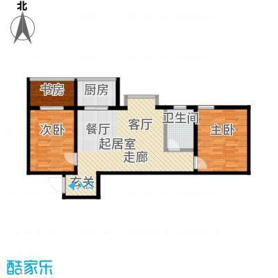 百花紫荆名座80.43㎡27#C户型 两室两厅一卫户型