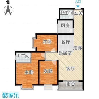 百花紫荆名座136.34㎡C、D座A户型 三室两厅两卫户型