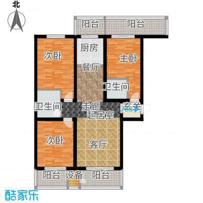 紫晶名门141.25㎡E户型 三室两厅两卫户型3室2厅2卫