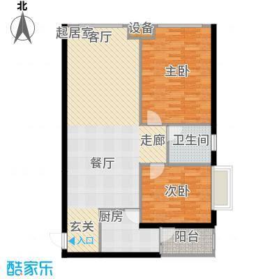 建发・天府鹭洲69.00㎡F型产权69实得104平米户型2室1厅1卫