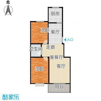 蓝湾半岛88.37㎡实用型 两室两厅一卫户型2室2厅1卫