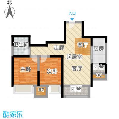 融科金月湾M户型15号楼二室二厅一卫87平米户型