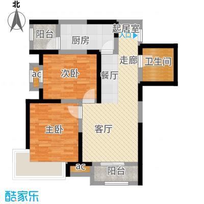 融科金月湾L户型15号楼二室二厅一卫84平米户型