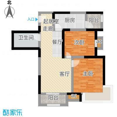 融科金月湾L'户型15号楼二室二厅一卫84平米户型