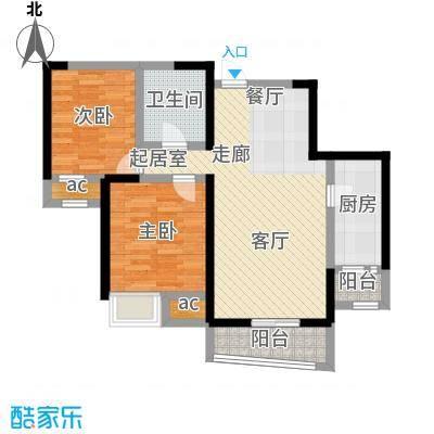 融科金月湾二室二厅一卫 86平米户型