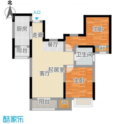 融科金月湾88.00㎡2室2厅1卫户型