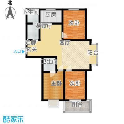 石家庄逸格129.75㎡G户型三室两厅两卫一厨户型3室2厅2卫