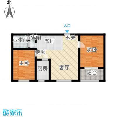 石家庄逸格87.20㎡C户型两室两厅一卫一厨户型2室2厅1卫