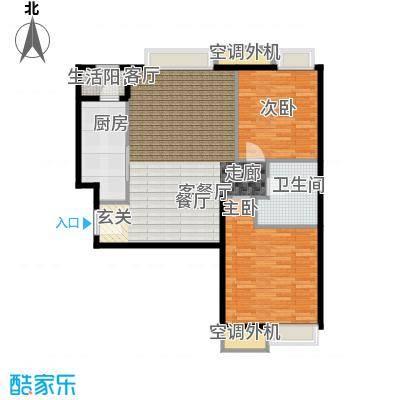 天津湾海景雅苑92.14㎡B4二室二厅一卫一厨户型