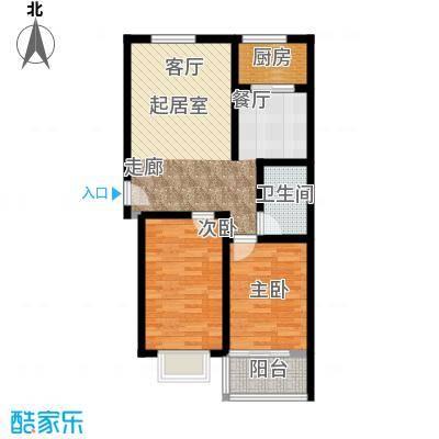 和园86.00㎡F户型2室2厅1卫1厨户型2室2厅1卫