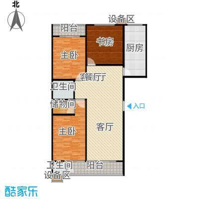滨河雅园135.20㎡4号楼E户型 三室两厅两卫户型3室2厅1卫