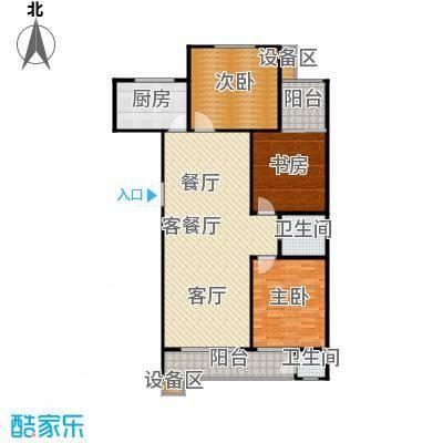 滨河雅园124.60㎡2号、3号楼D户型 三室两厅两卫户型3室2厅2卫