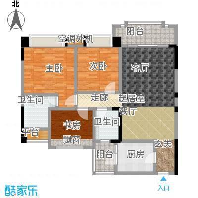 瀚华花园105.00㎡105平米三房单位户型3室2厅2卫
