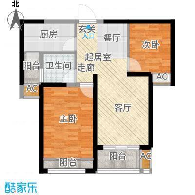 中建开元壹号74.00㎡高层E2户型 二室二厅一卫 赠5平 大阳台大飘窗户型2室2厅1卫