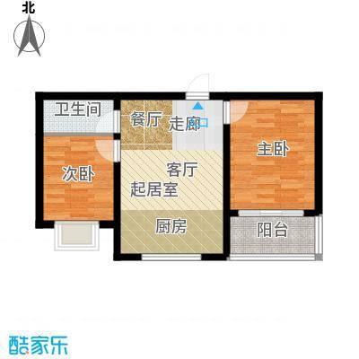 铭翔花园62.43㎡户型3 2室2厅1卫1厨户型