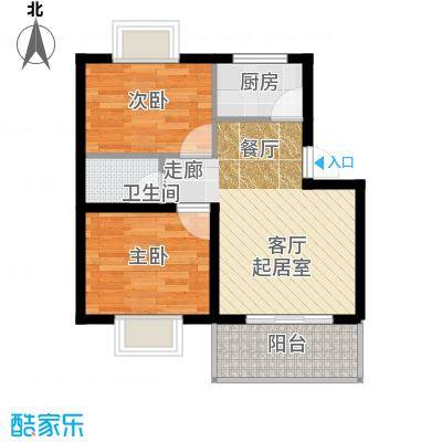 铭翔花园81.33㎡A户型 2室2厅1卫1厨户型