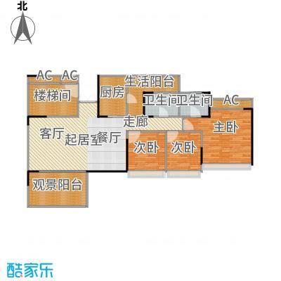 花海湾130.94㎡1栋01单元三房两厅两卫户型3室2厅2卫