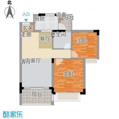 美林假日二房二厅一卫二阳台户型2室2厅1卫