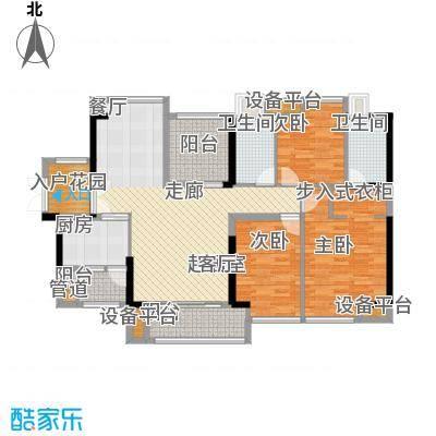 裕龙君汇130.00㎡B户型 130-136平米 三房二厅二卫(N+1户型)户型3室2厅2卫